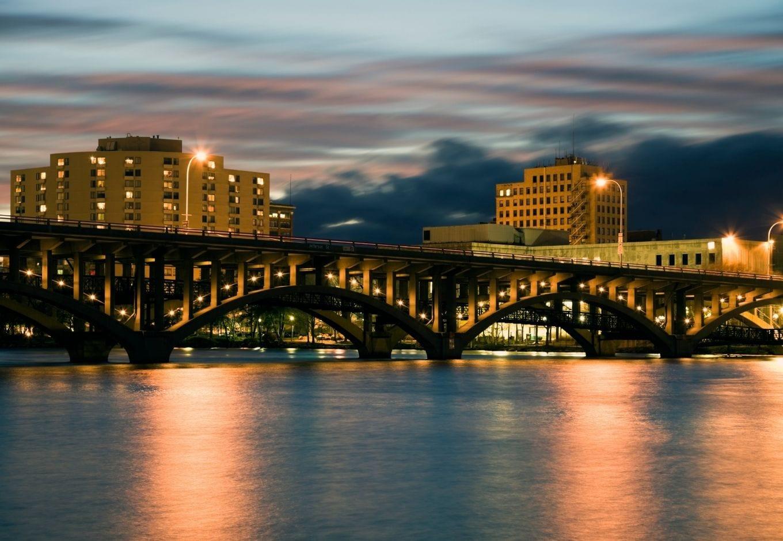 Rockford, Illinois, at night.