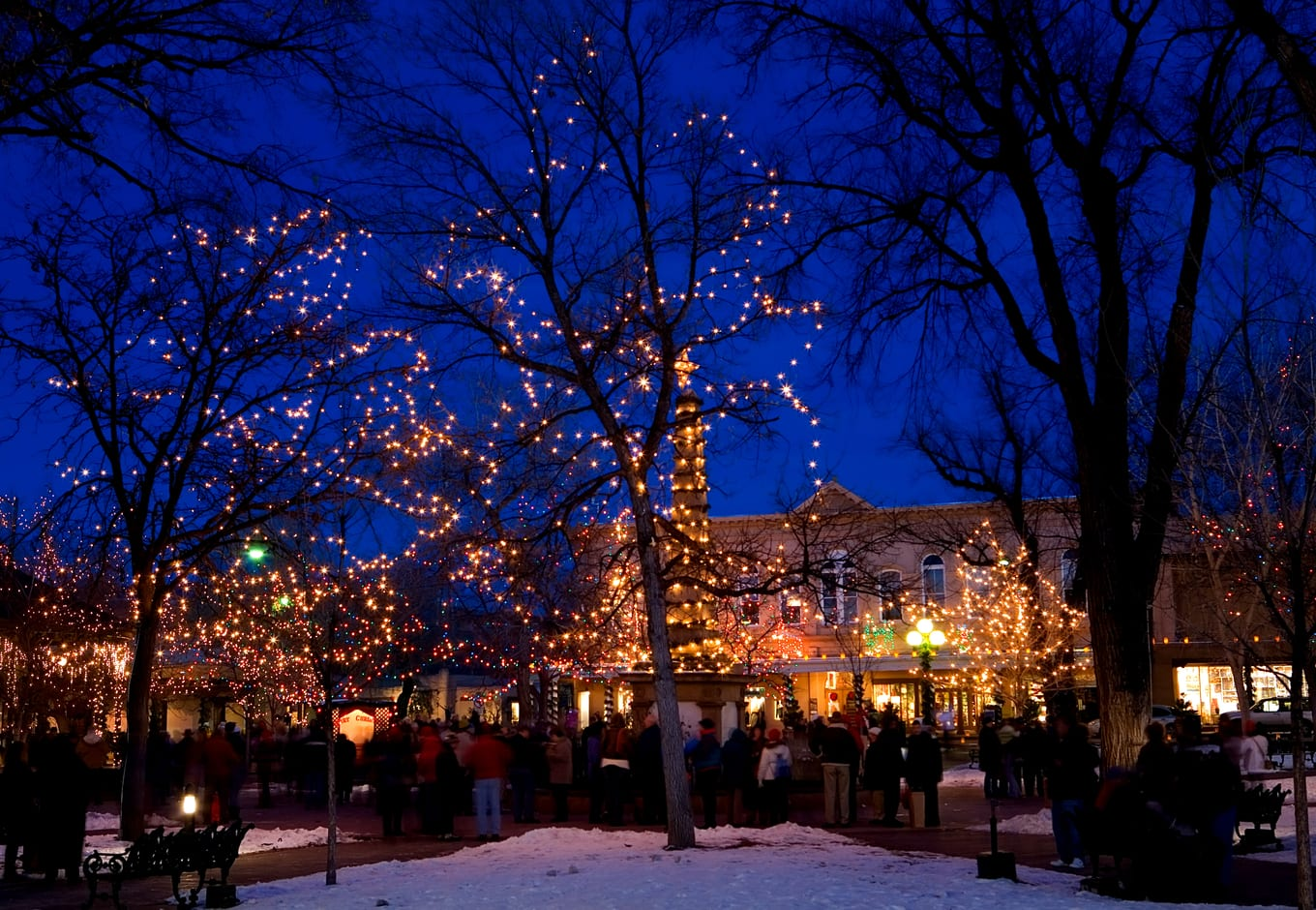 The square in Santa Fe sparkling with Christmas lights.