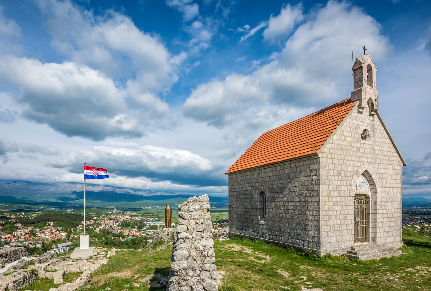 The chapel above the town of Sinj, in Croatia