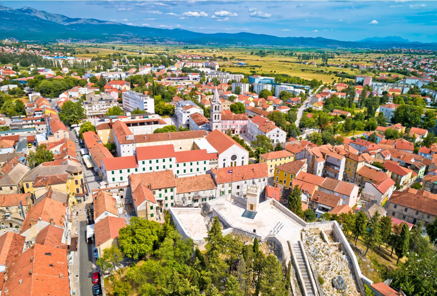 Aerial view of Sinj in Dalmatia hinterland southern Croatia