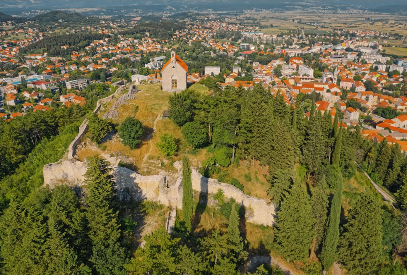 Aerial view of small picturesque town of Sinj in Croatia.