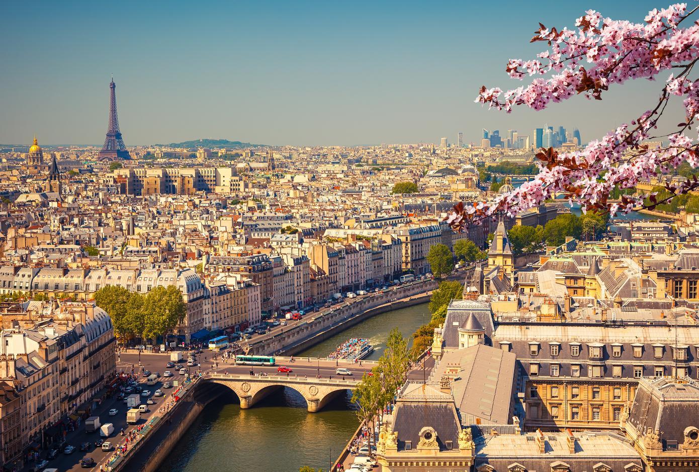 Aerial view of Paris, France, at springtime.