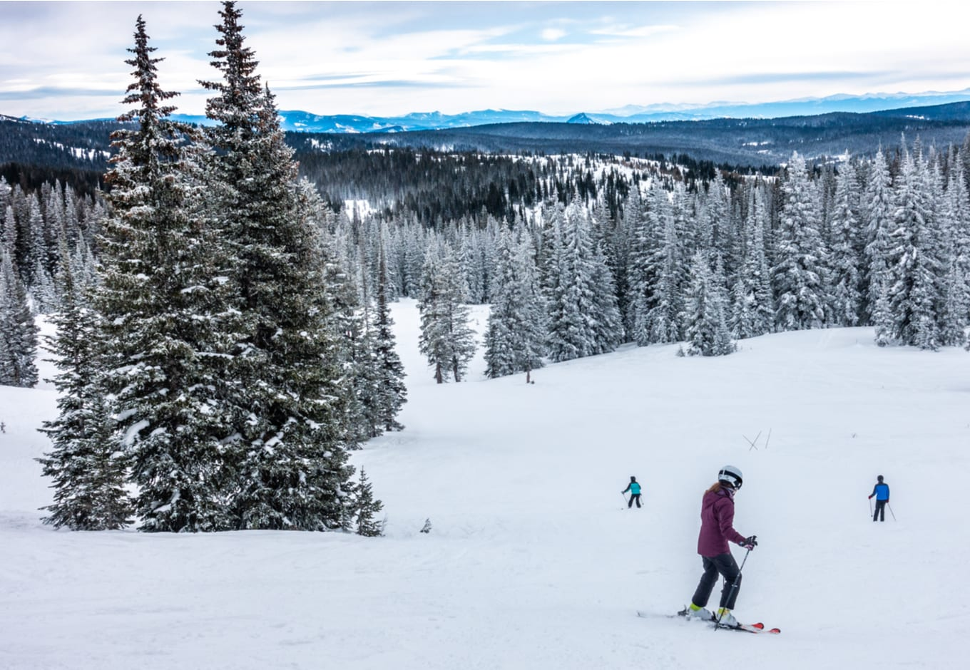People skiing at the Steamboat Springs Ski Resort, on Mount Werner, Colorado.