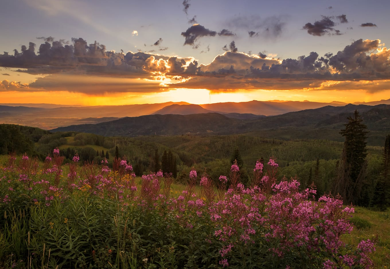 Spring sunset in Steamboat Springs, Colorado.