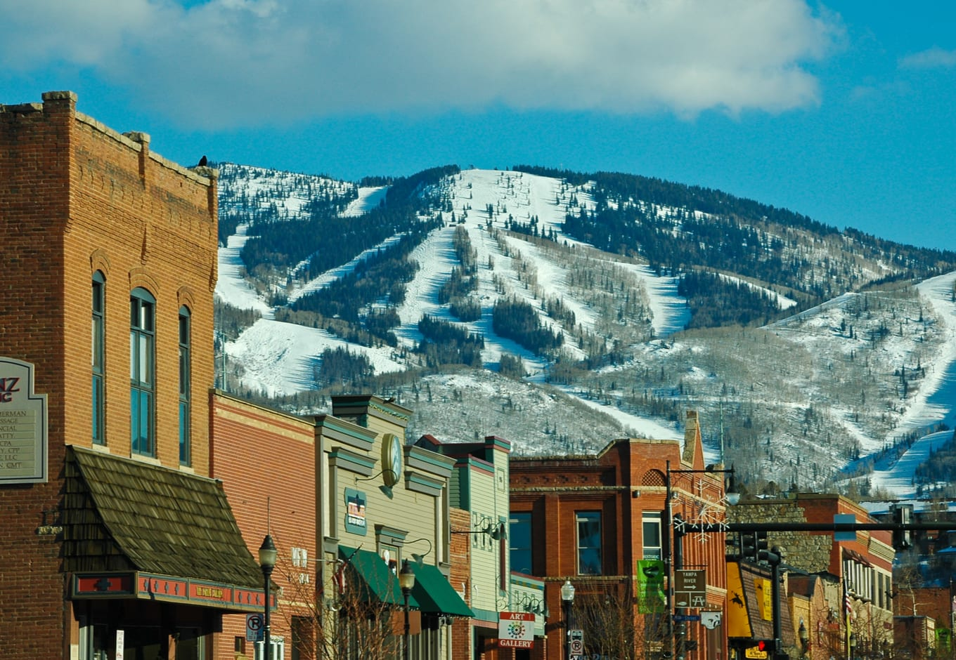 Downtown Steamboat Springs, Colorado, with Mt. Warner ski area in the background.