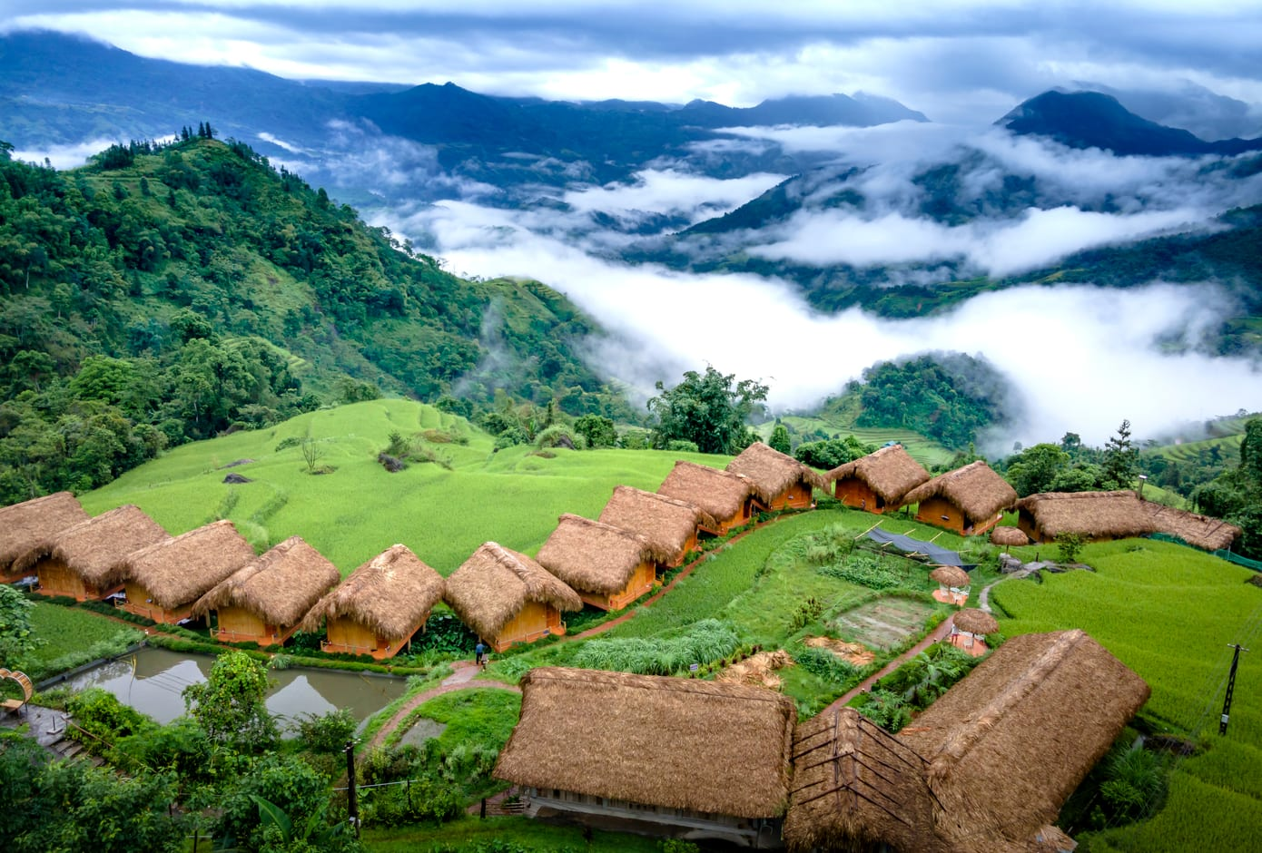 Aerial view of Hoang Su Phi Lodge, Vietnam