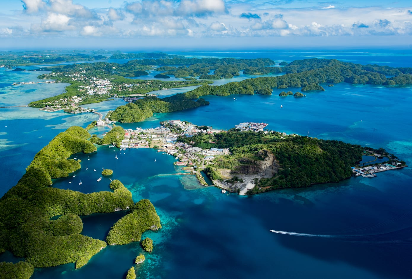 Aerial view of the paradisiac Palau Malakal island, in Oceania.