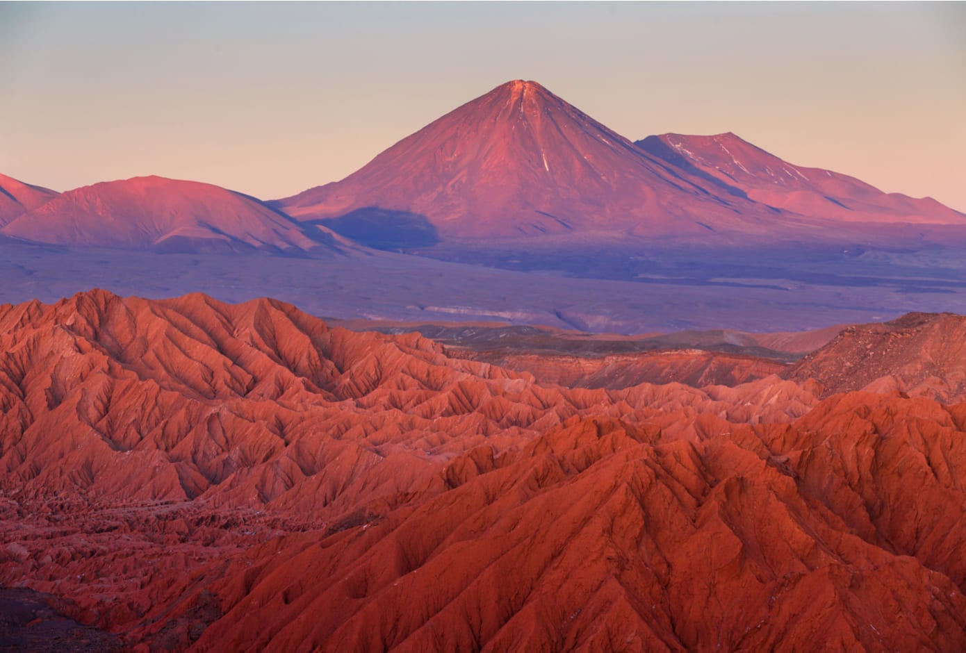 The pink hued rock formations at the Atacama Desert, in Chile.