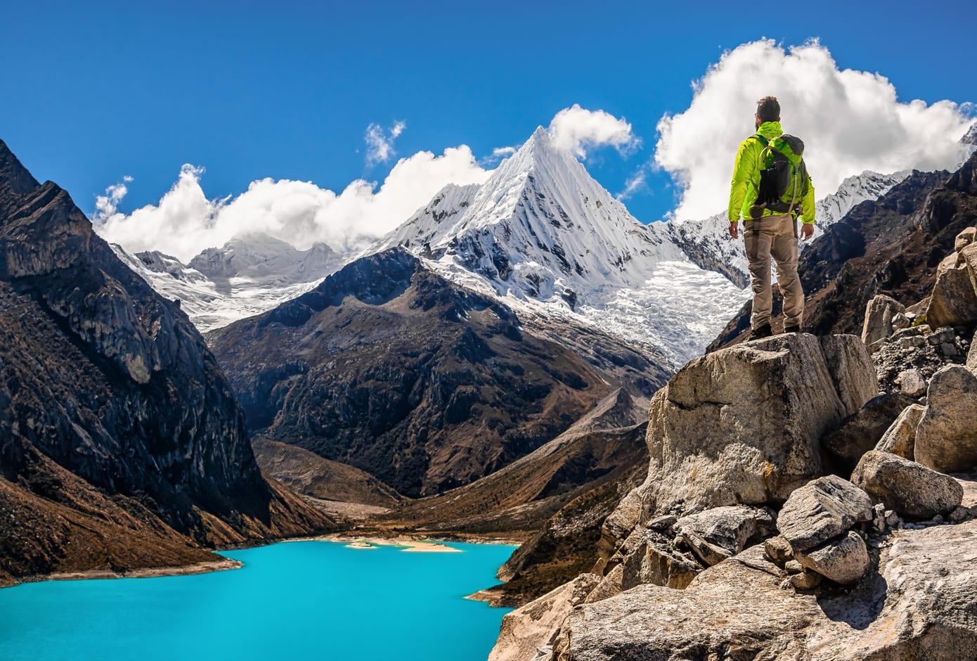 Male Hiker in Cordillera Blanca, in Peru, South America