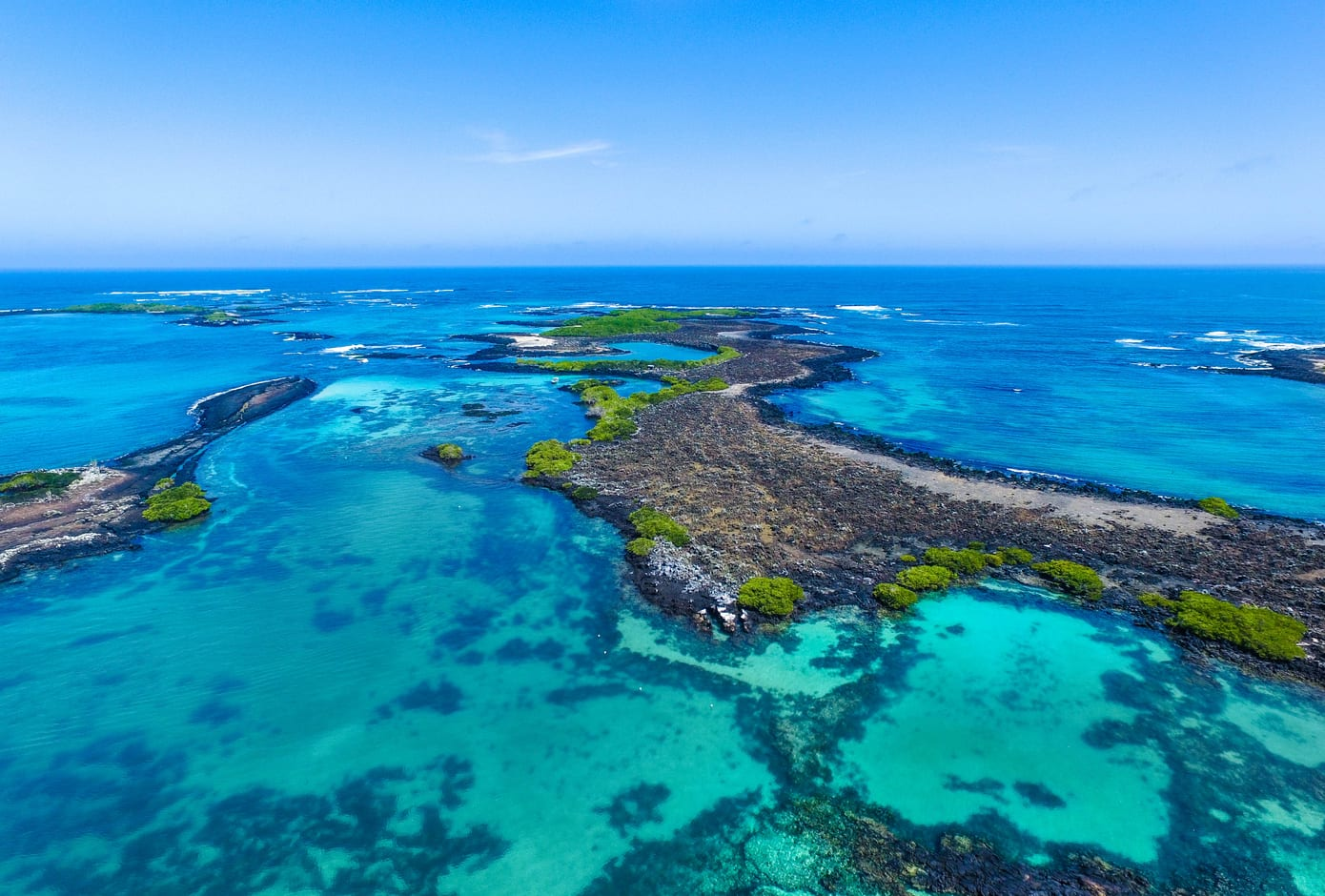 Aerial Shot of Isabela Island, in the Galápagos Archipelago, Ecuador.