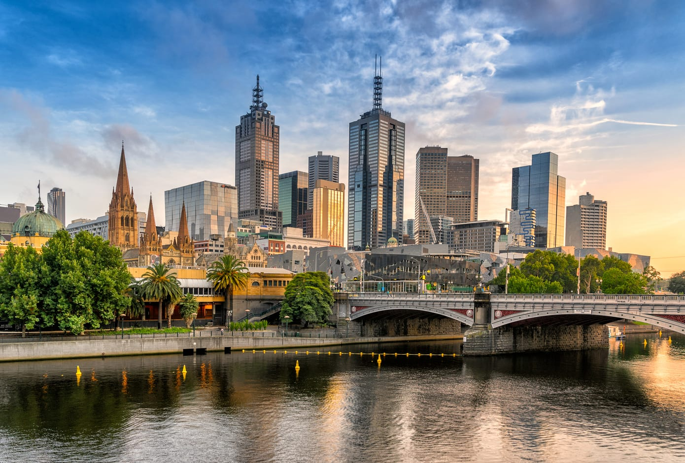 View of Melbourne's skyline at dusk, in Australia.