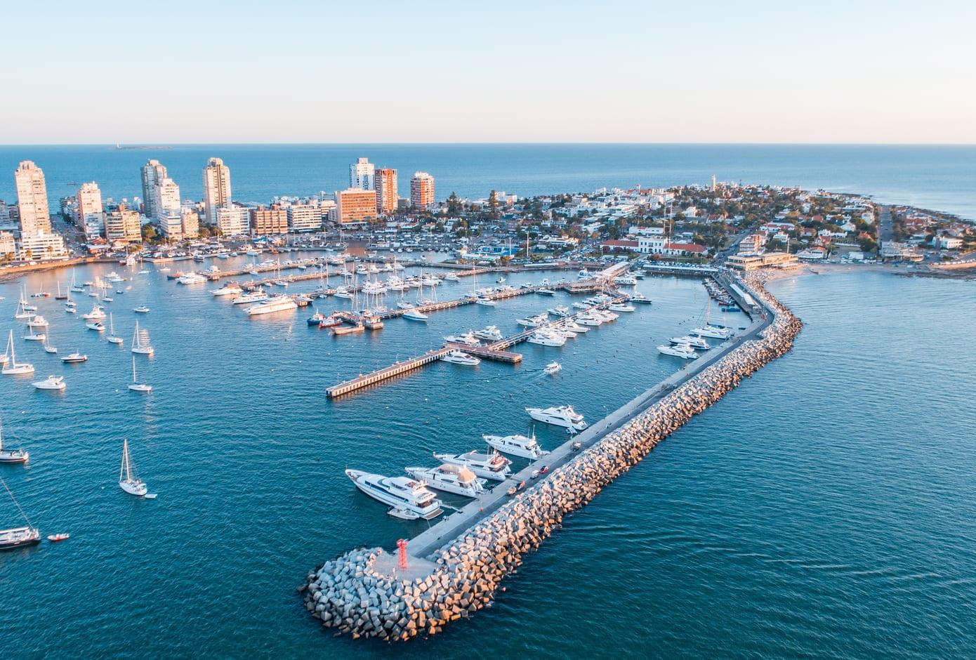 Top view of Punta Del Este, in Uruguay.
