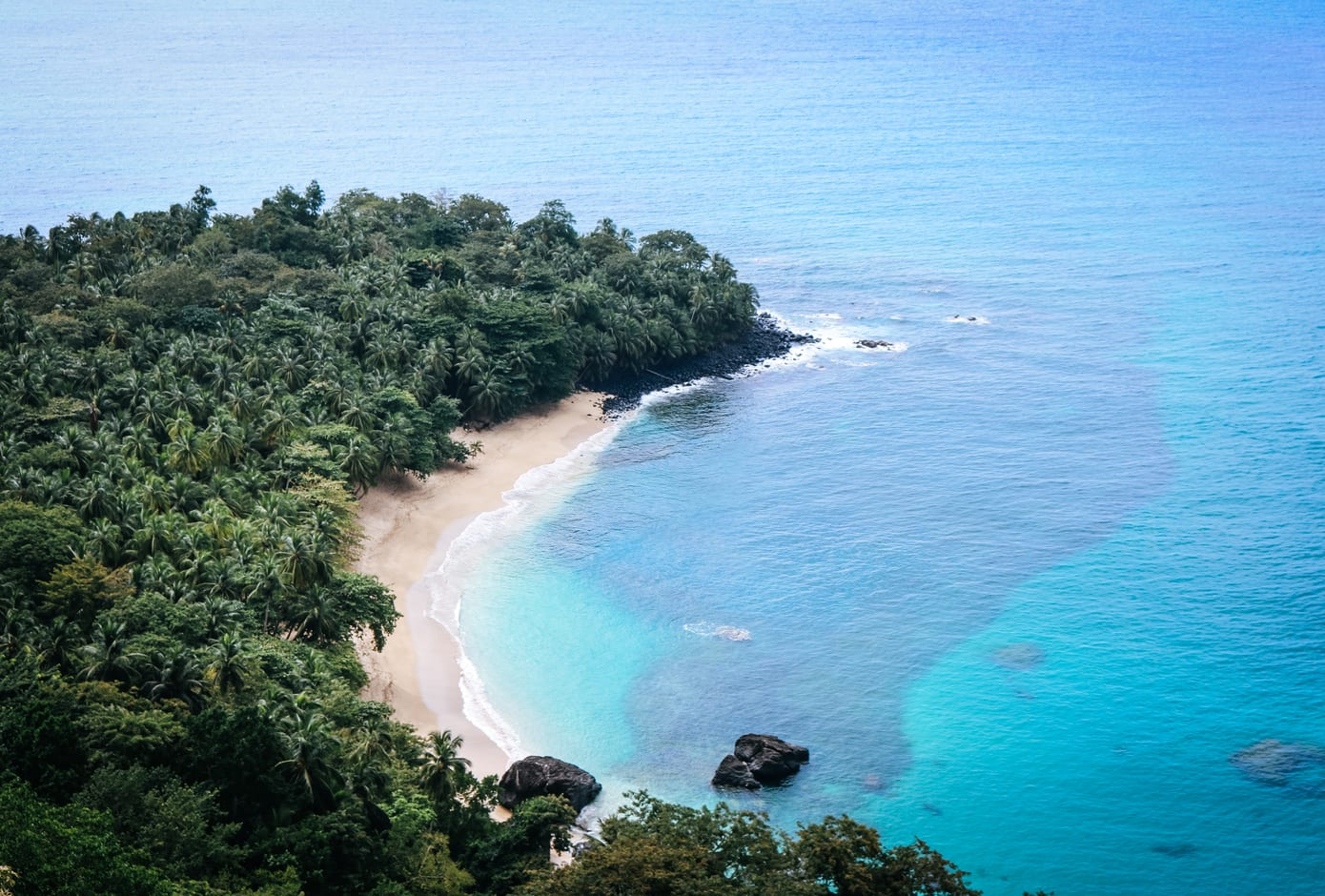 The famous banana beach on the beautiful island of Principe, São Tomé and Príncipe, Africa.