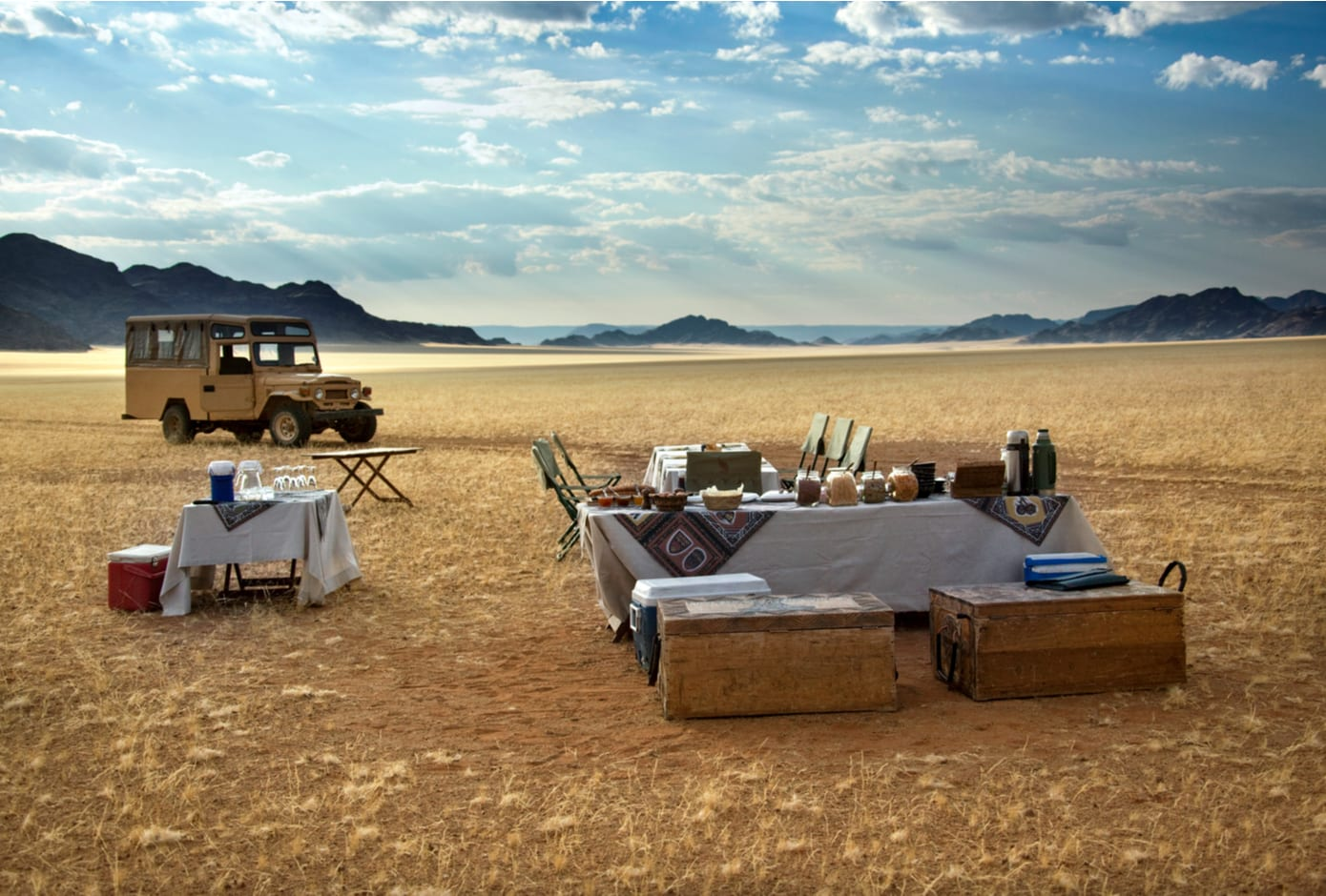 Luxury Champagne breakfast ready for tourists in the Namib Desert. in Namibia.