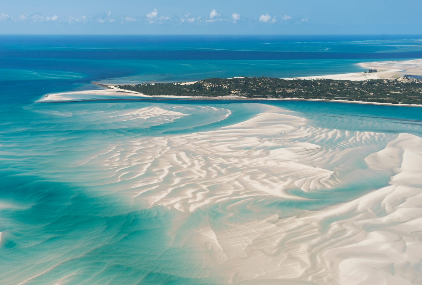 Aerial view of a paradisiac island in Vilankulo, Mozambique, Africa.