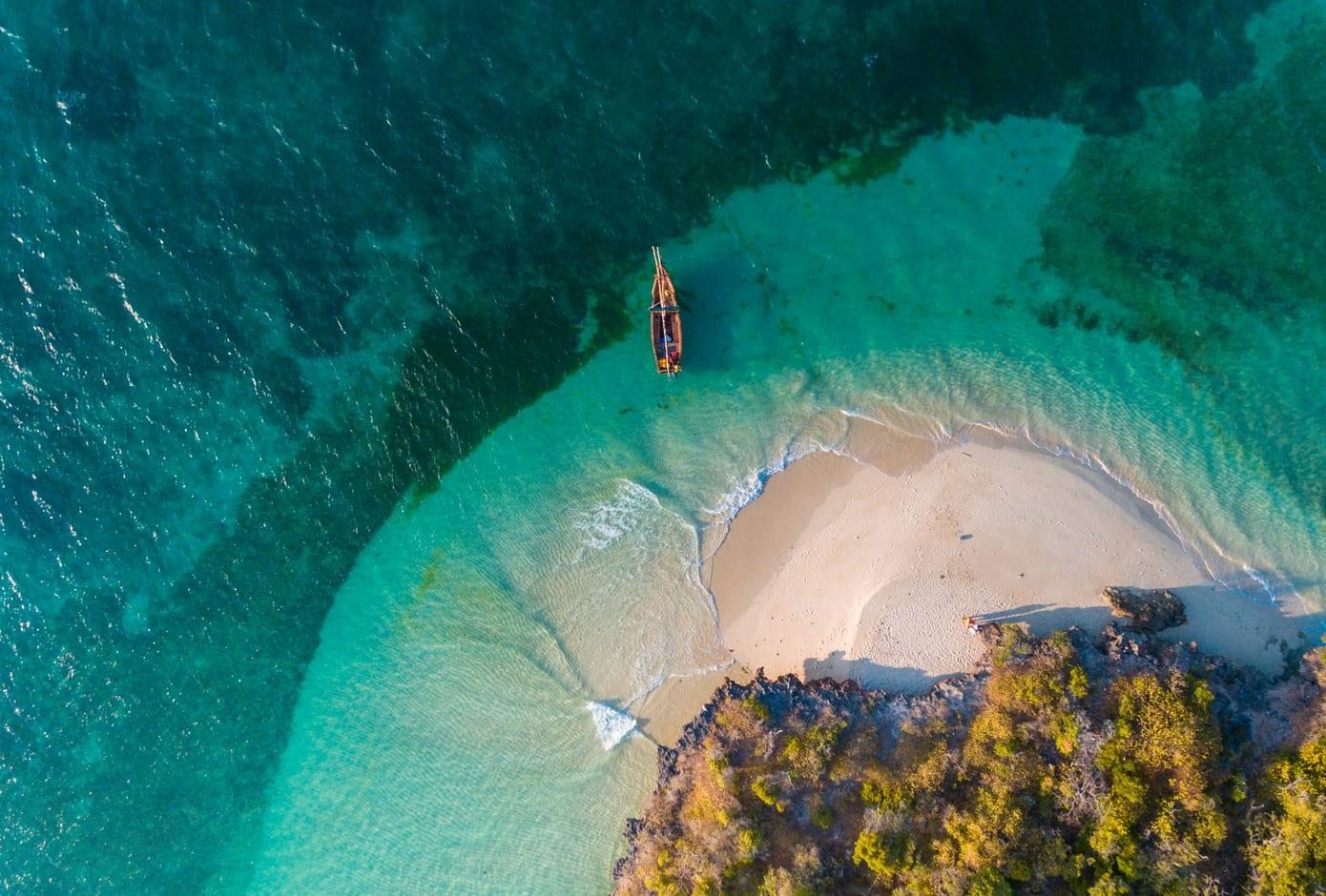 Aerial view of Fumba Island, in Zanzibar, Tanzania.