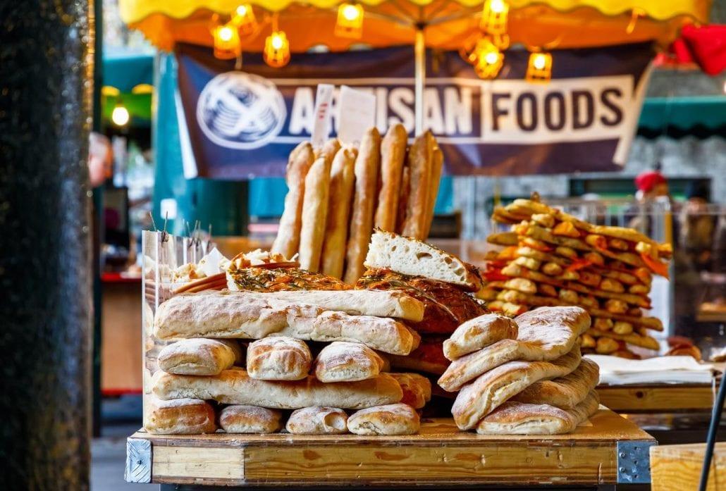 Freshly baked breads at Borough Market, London.