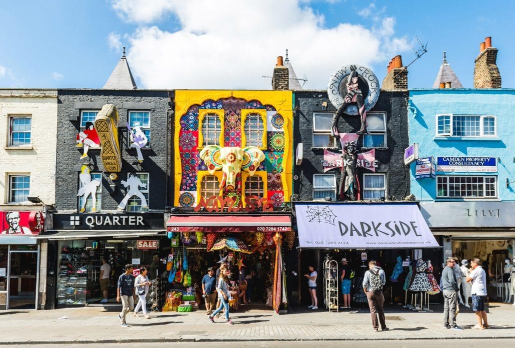 Camden Lock Bridge, famous alternative culture shops in Camden Town, London.