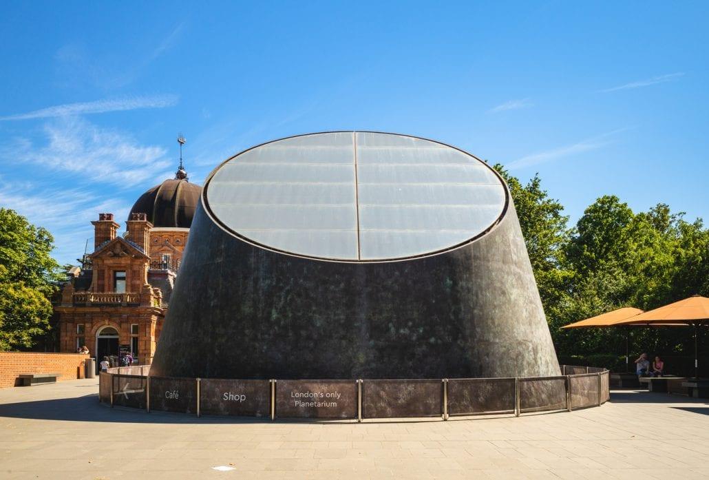 Façade of the Peter Harrison Planetarium, in London.