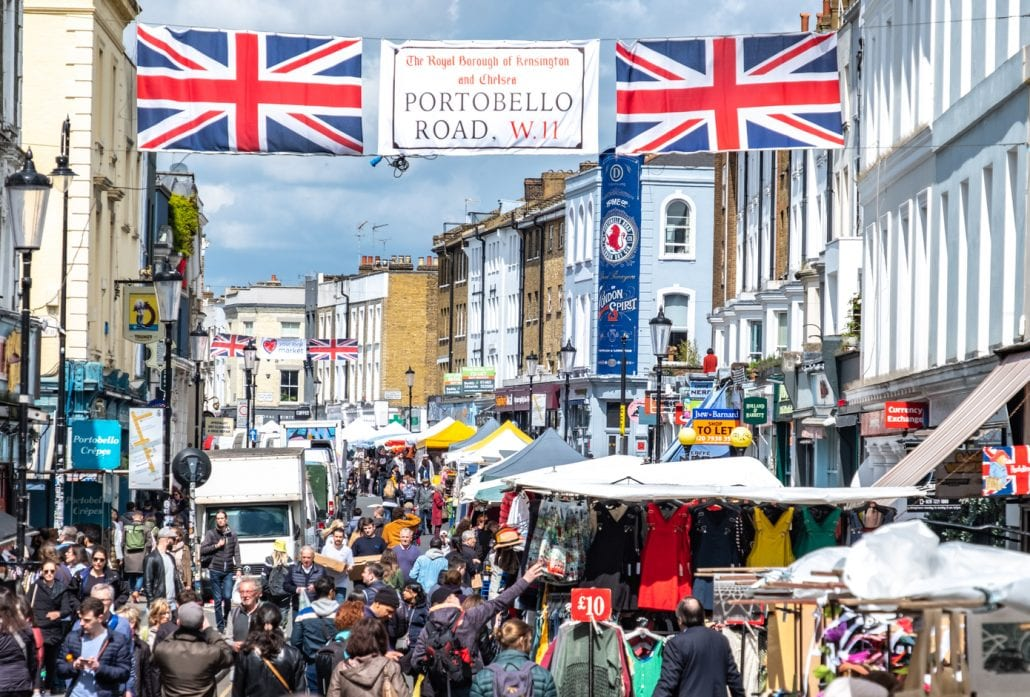 Portobello Road Market, a famous antiques street market in Notting Hill in west London