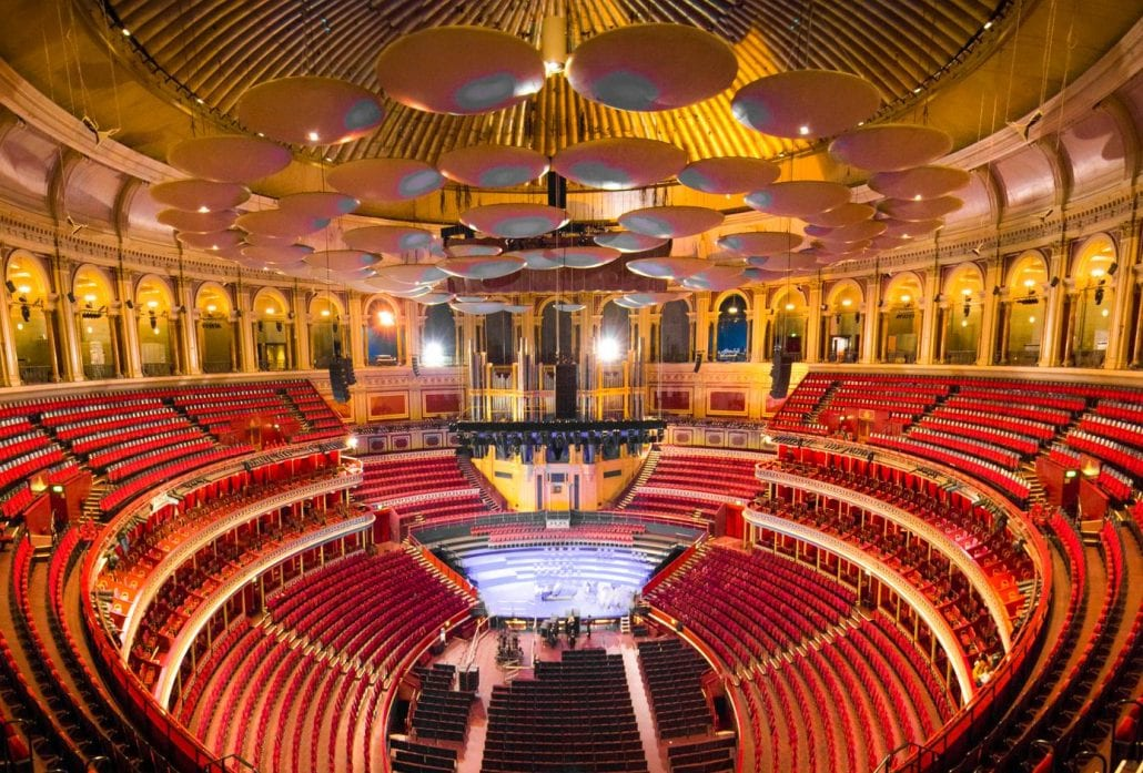 Interior of the Royal Albert Hall, a world famous music venue and London landmark.