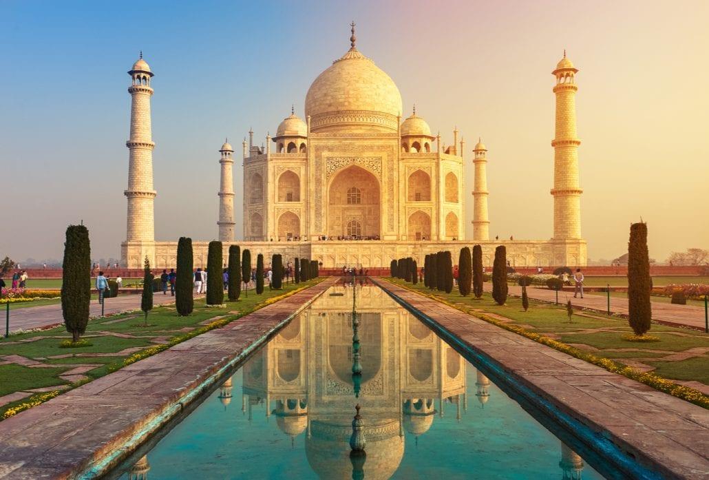 The ivory-marble Taj Mahal at dusk, in Agra, India.