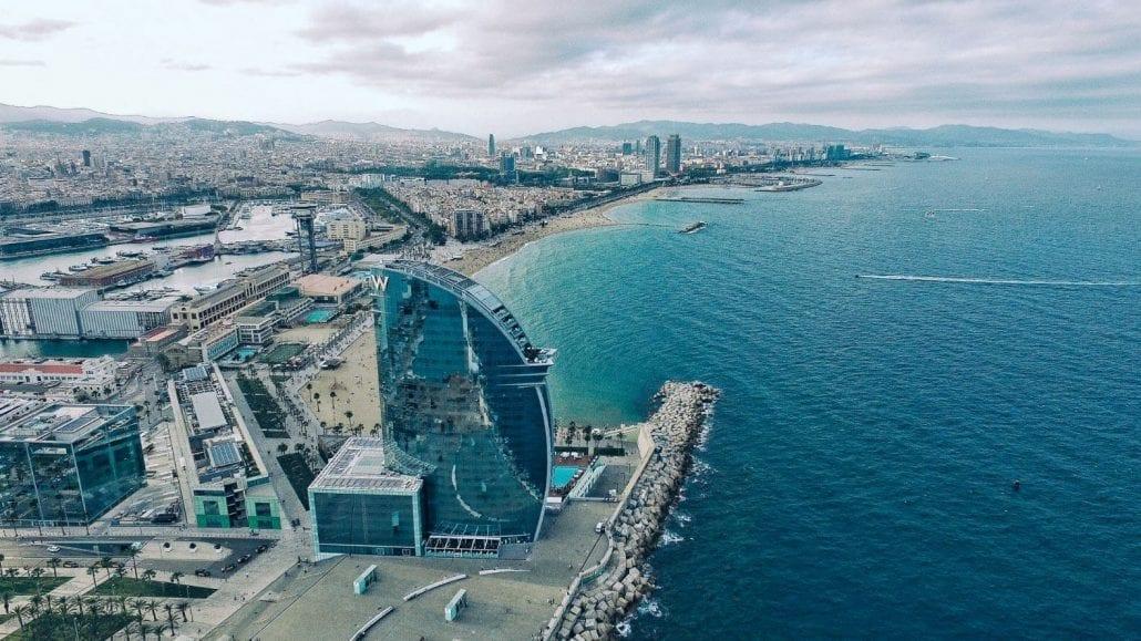 W Barcelona Hotel overlooking the Mediterranean sea at the Barceloneta Beach, in Barcelona, Spain.
