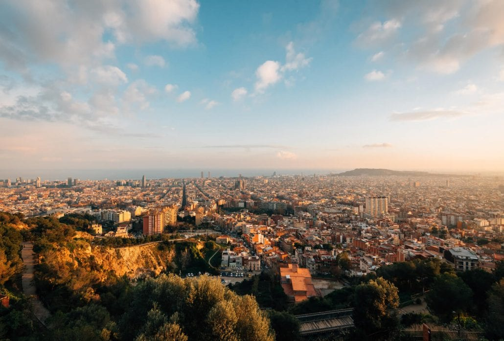 Sunset cityscape skyline view from Bunkers Del Carmel, in Barcelona, Spain