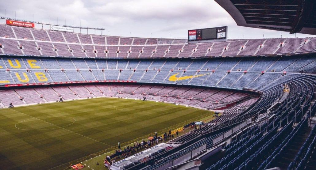 Camp Nou Stadium in Barcelona, Spain.