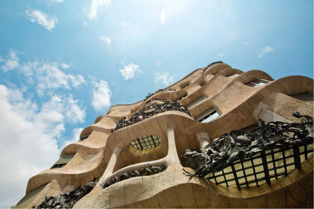 Modernist house Casa Mila is also known as La Pedrera designed by Antoni Gaudi