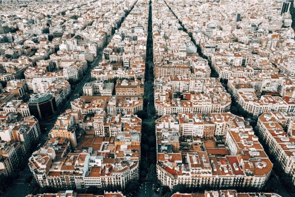Top view of Barcelona's urban plan.