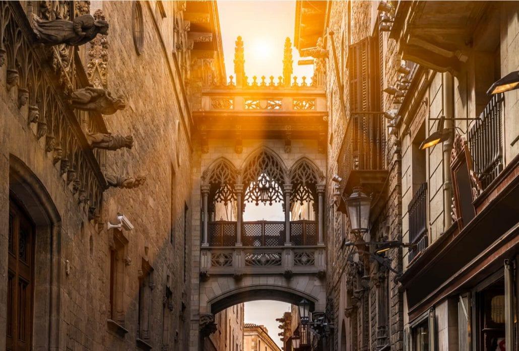 Bridge of Carrer del Bisbe, in Barri Gotic (Gothic Quarter), Barcelona. Spain.