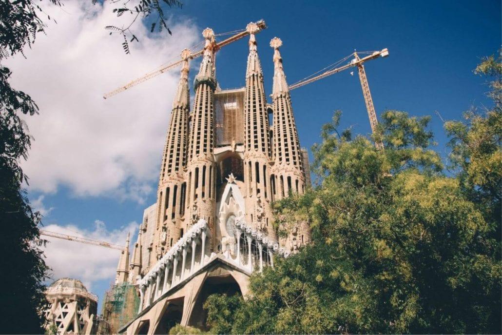 The stunning façade of La Sagrada Familia church in Barcelona, Spain.