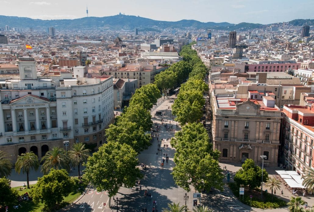 The tree lined Las Ramblas avenue, in Barcelona, Spain.