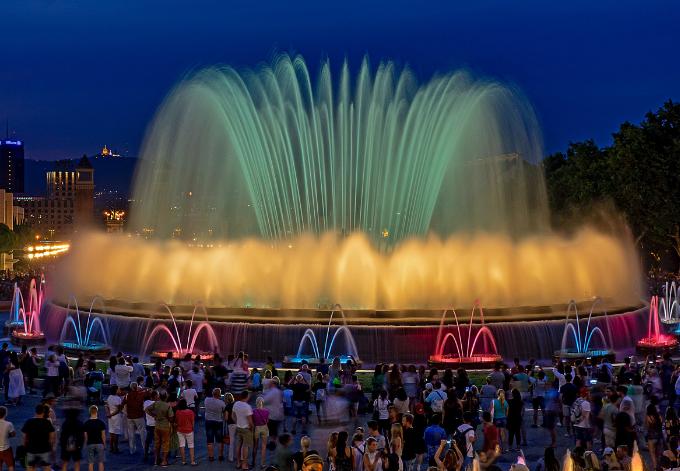 The Montjuïc Fountain Show at night, in Barcelona, Spain.
