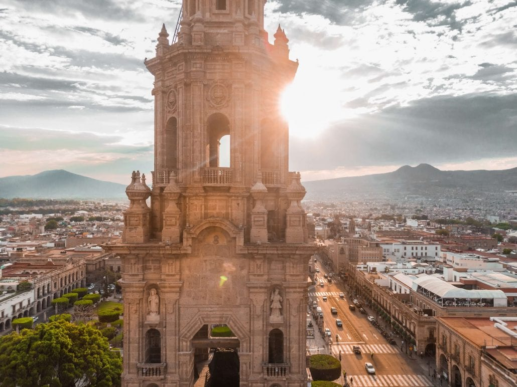Top view of Morelia Cathedral, in Morelia's colonial old town, in Mexico, at sunset.