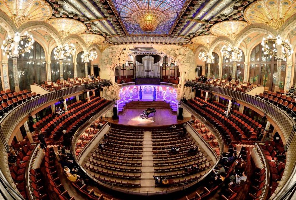 The lavish interiors of The Palau de la Musica Catalana (Palace of Catalan Music) in Barcelona, Spain.