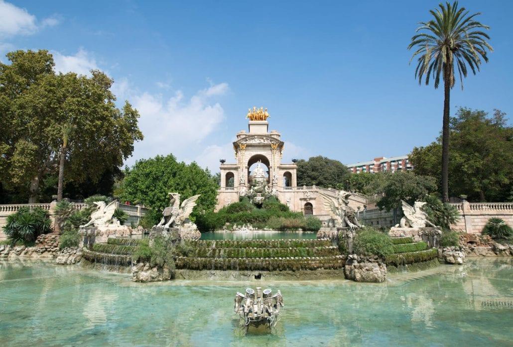 A fountain at Parc de La Ciutadella in Barcelona, Spain.