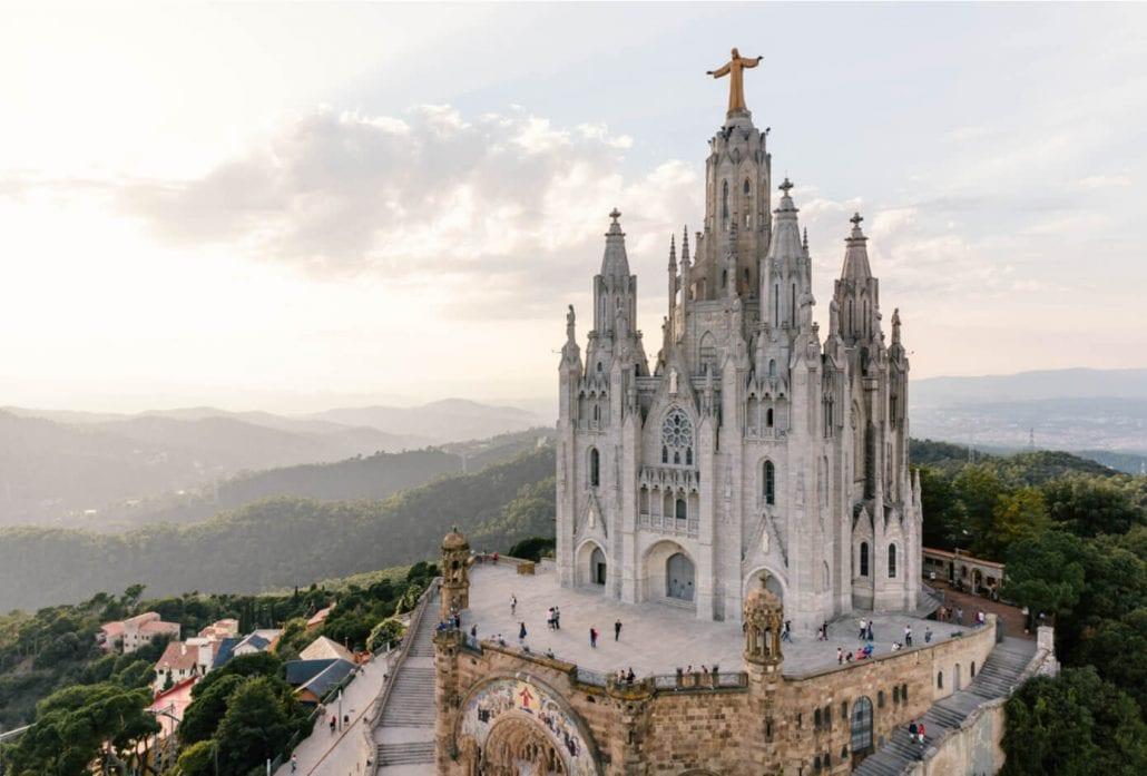 Temple Expiatori del Sagrat Cor - Temple of the Sacred Heart of Jesus on mount Tibidabo, Barcelona, Spain.